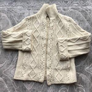 MARY SMITH   Pure Wool Irish Aran Sweater in Cream